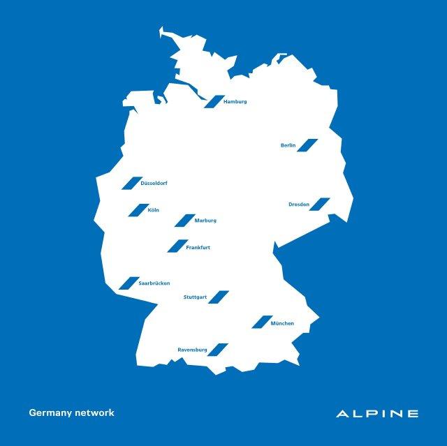 alpine er ffnet in deutschland elf st tzpunkte. Black Bedroom Furniture Sets. Home Design Ideas